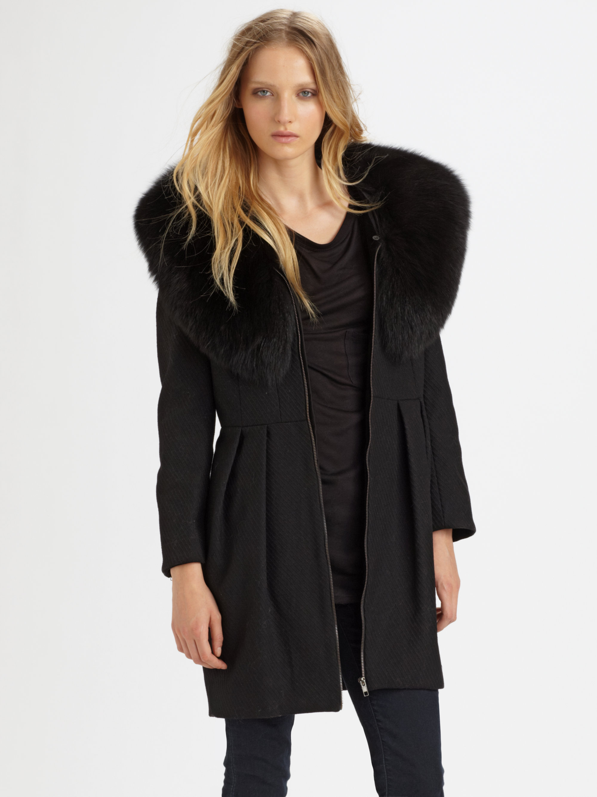 Alice   olivia Campbell Fox Fur Collar Coat in Black | Lyst
