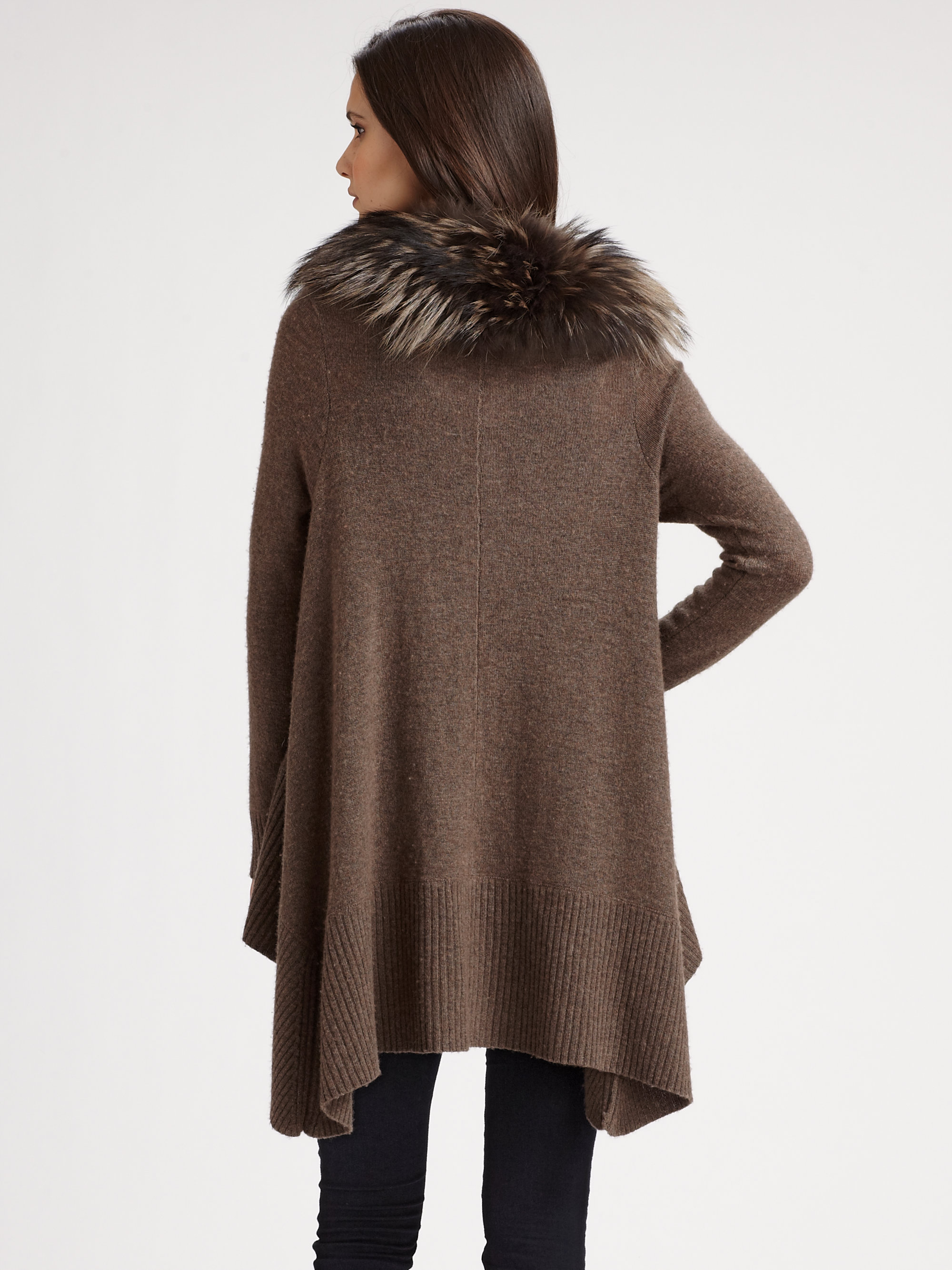 Alice   olivia Fur Trim Cascade Cardigan in Brown | Lyst