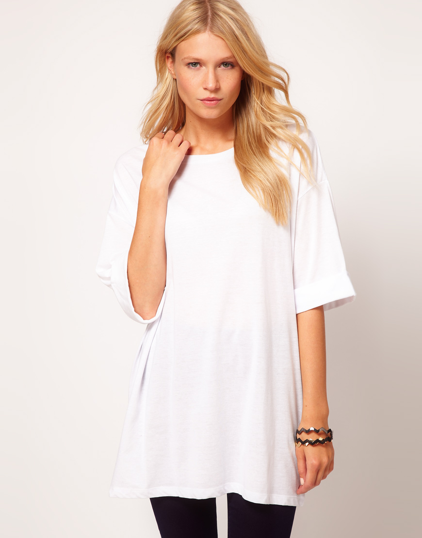 asos oversized t shirt in white lyst. Black Bedroom Furniture Sets. Home Design Ideas