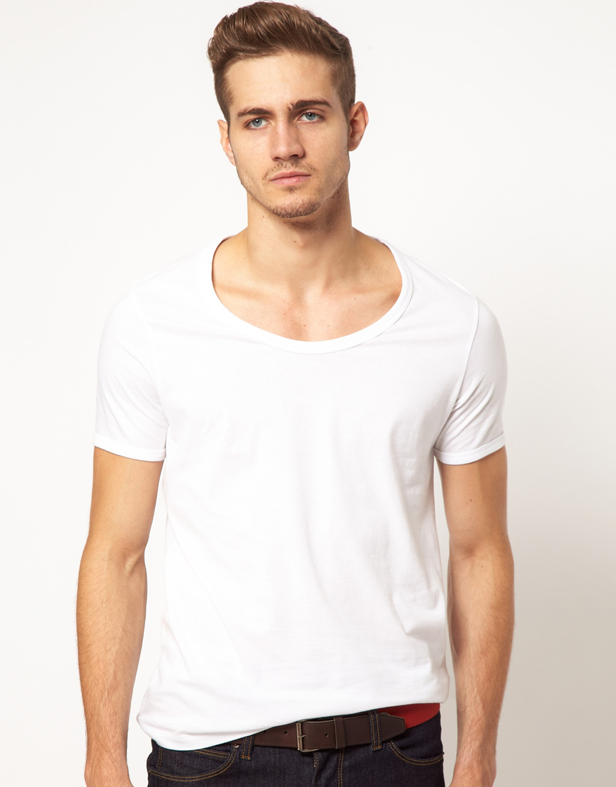 7741fd5ed616 ASOS T-shirt With Bound Scoop Neck in White for Men - Lyst