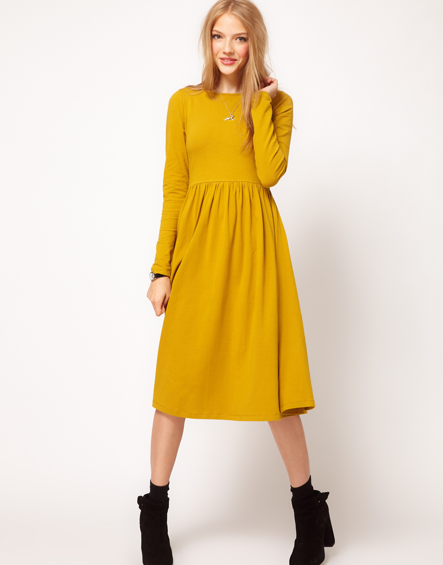 Lyst Asos Collection Asos Midi Dress With Long Sleeve In