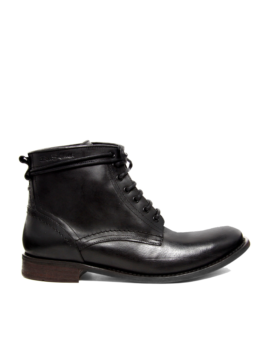 ben sherman leather boots in black for lyst