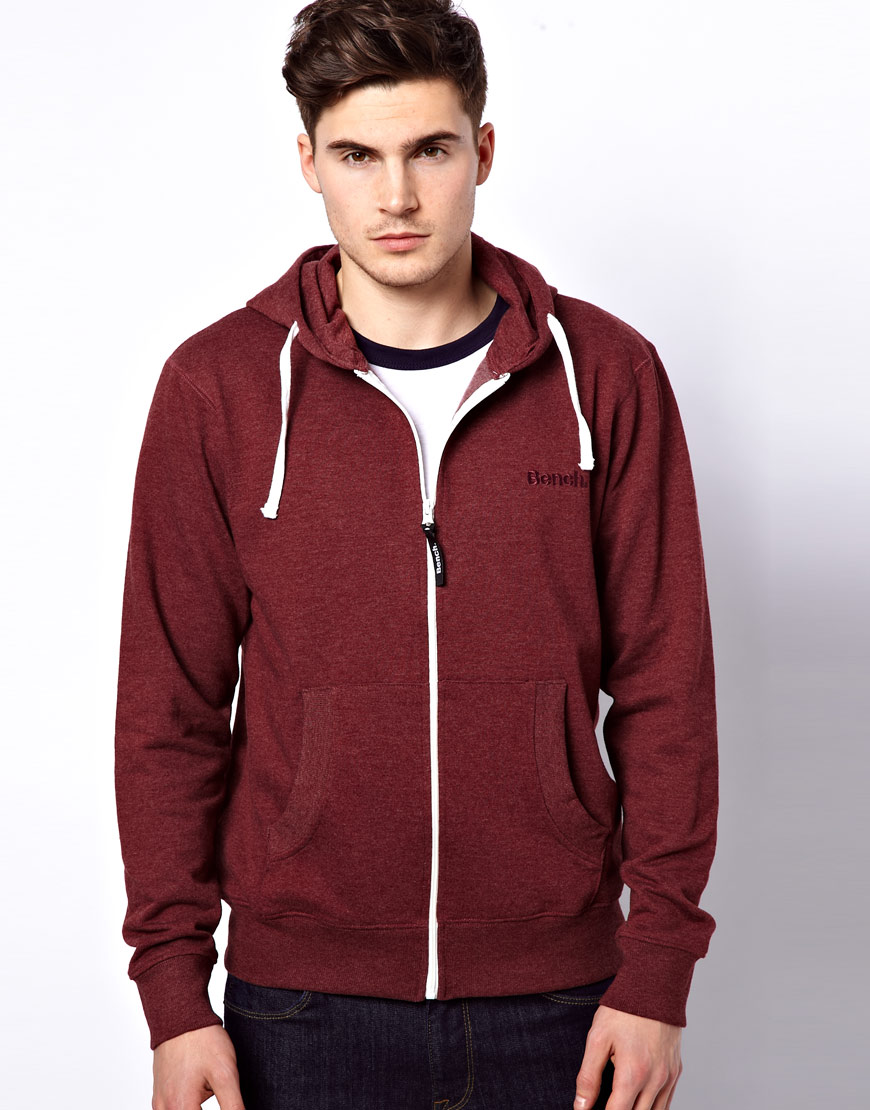 Burgundy Zip Up Hoodie Mens Fashion Ql