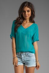 Beyond Vintage Top with Crescent Mesh Details - Lyst