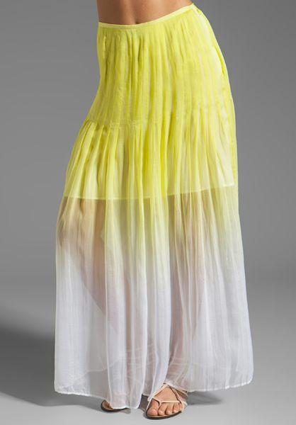 catherine malandrino pleated maxi skirt in absinthe in