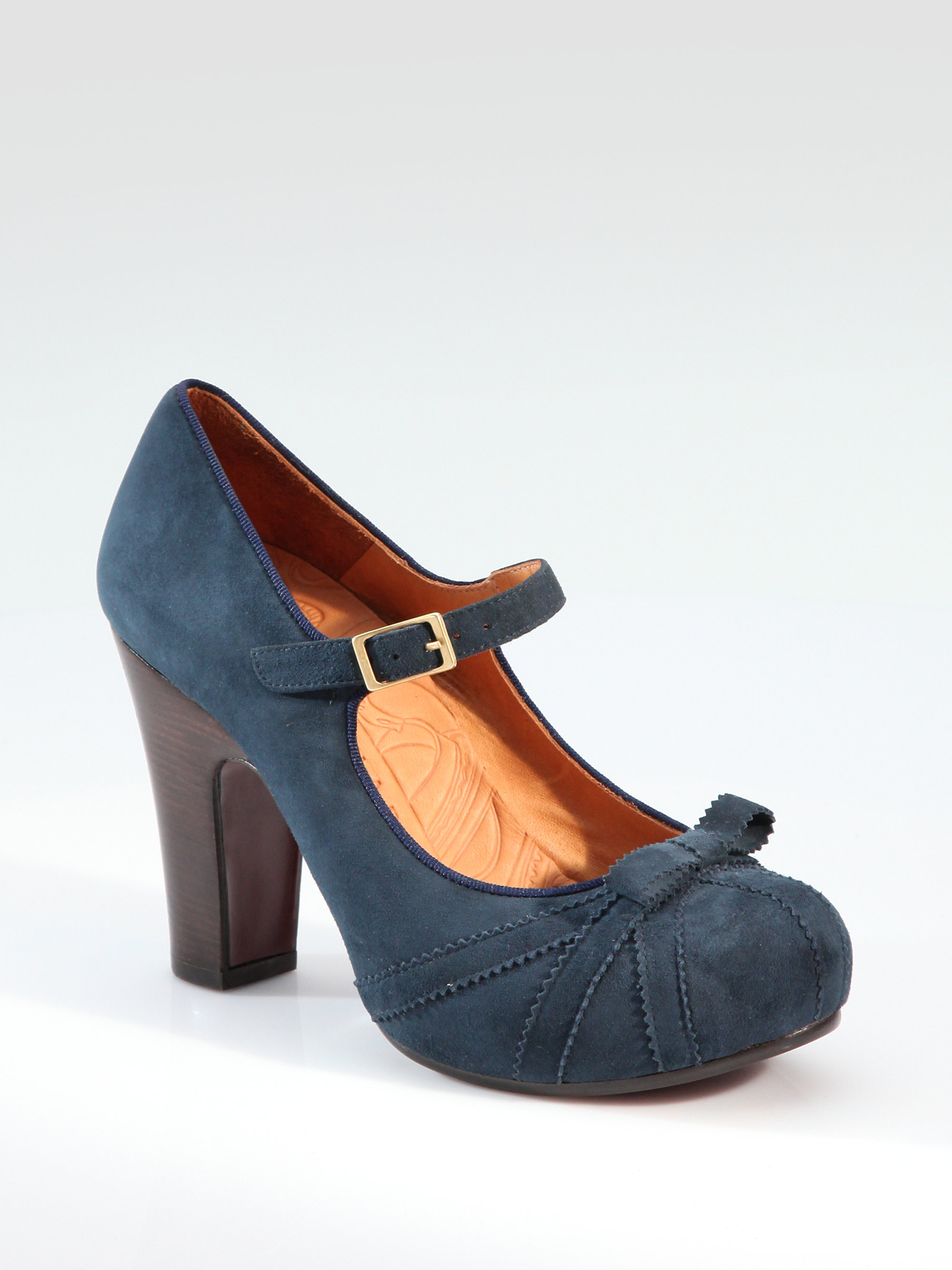 Chie mihara Suede Mary Jane Pumps in Blue | Lyst