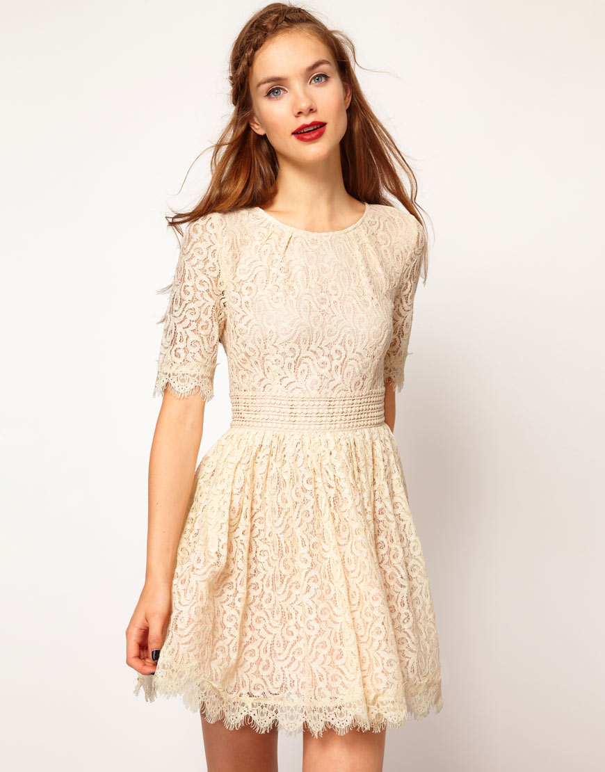 c652e8cf6b8218 Darling Amelia Lace Skater Dress in Natural - Lyst