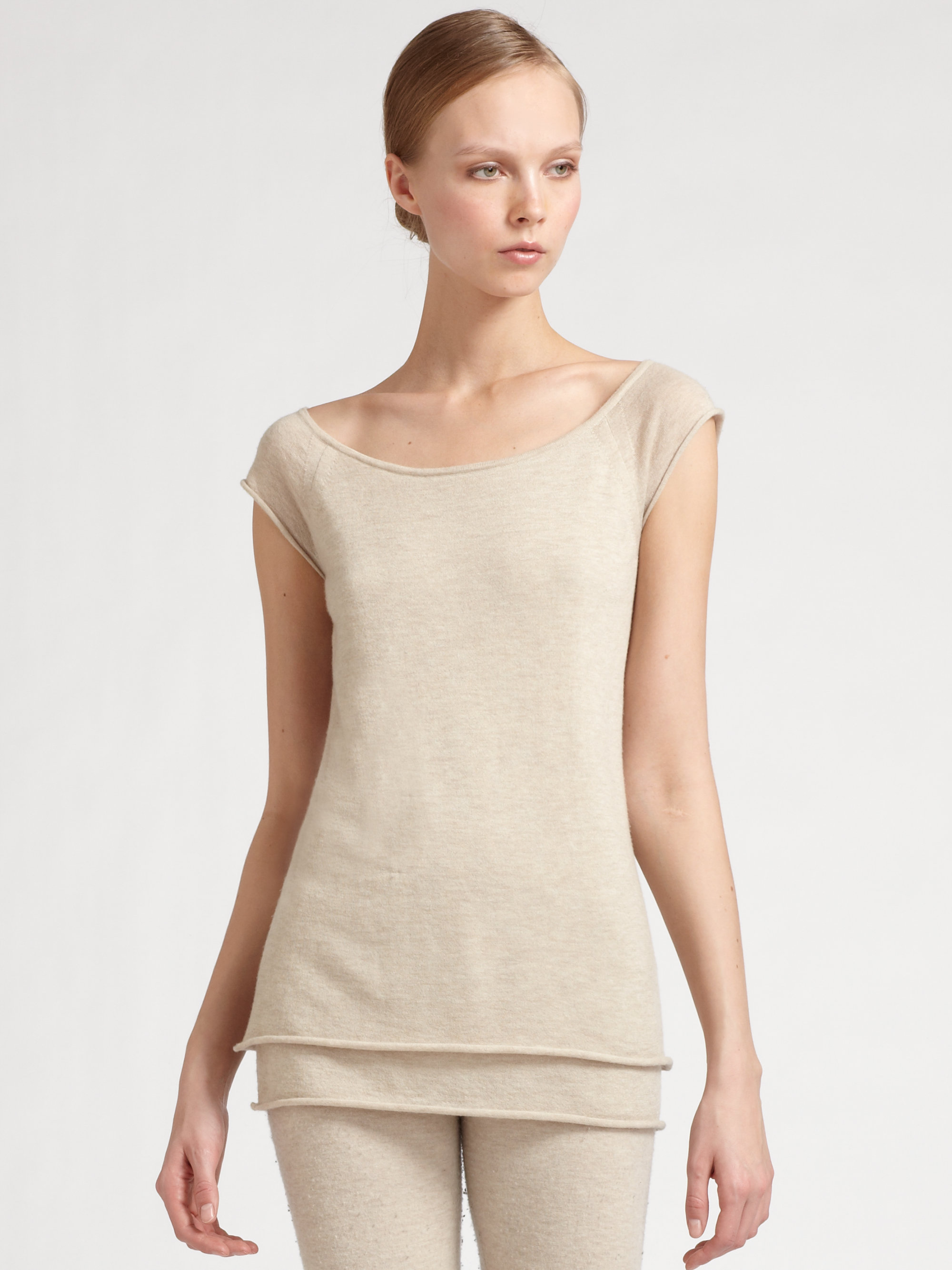 Donna karan new york double layer cashmere top in beige for Donna karen new york