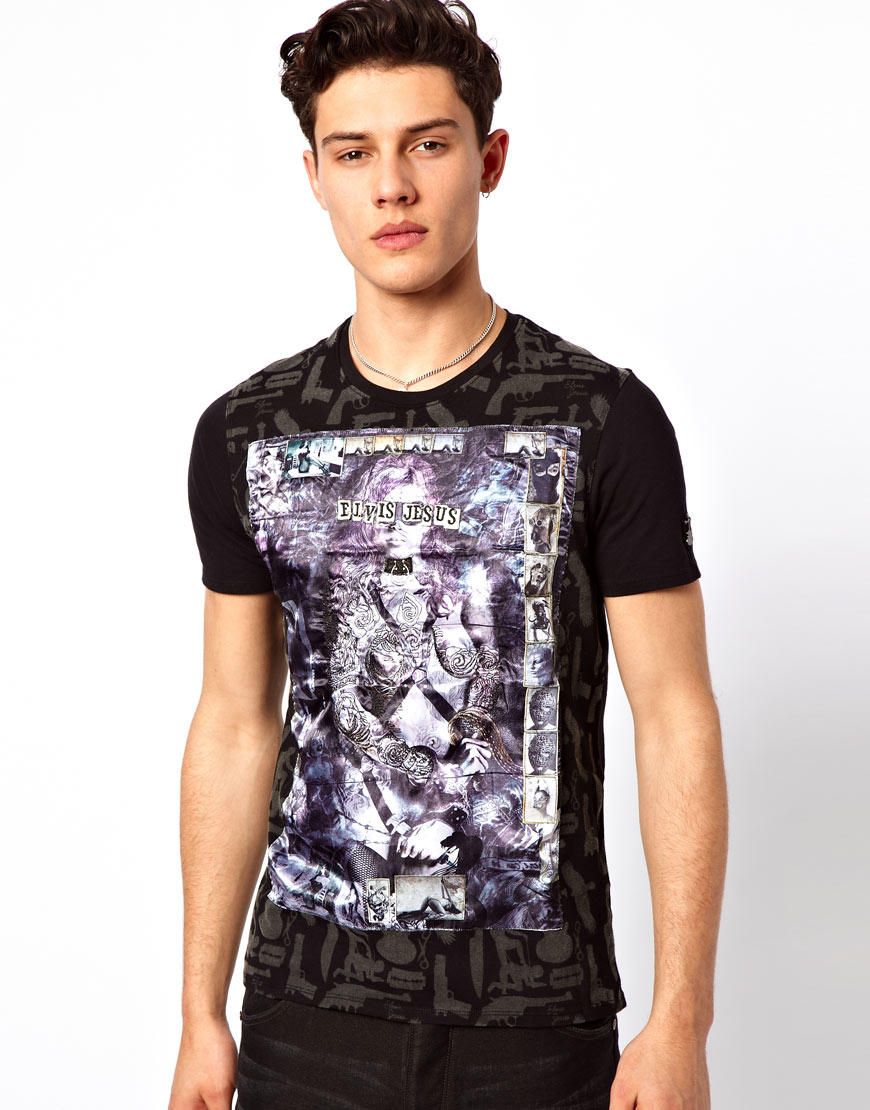 Elvis jesus tshirt born free in black for men lyst for Elvis jesus t shirt