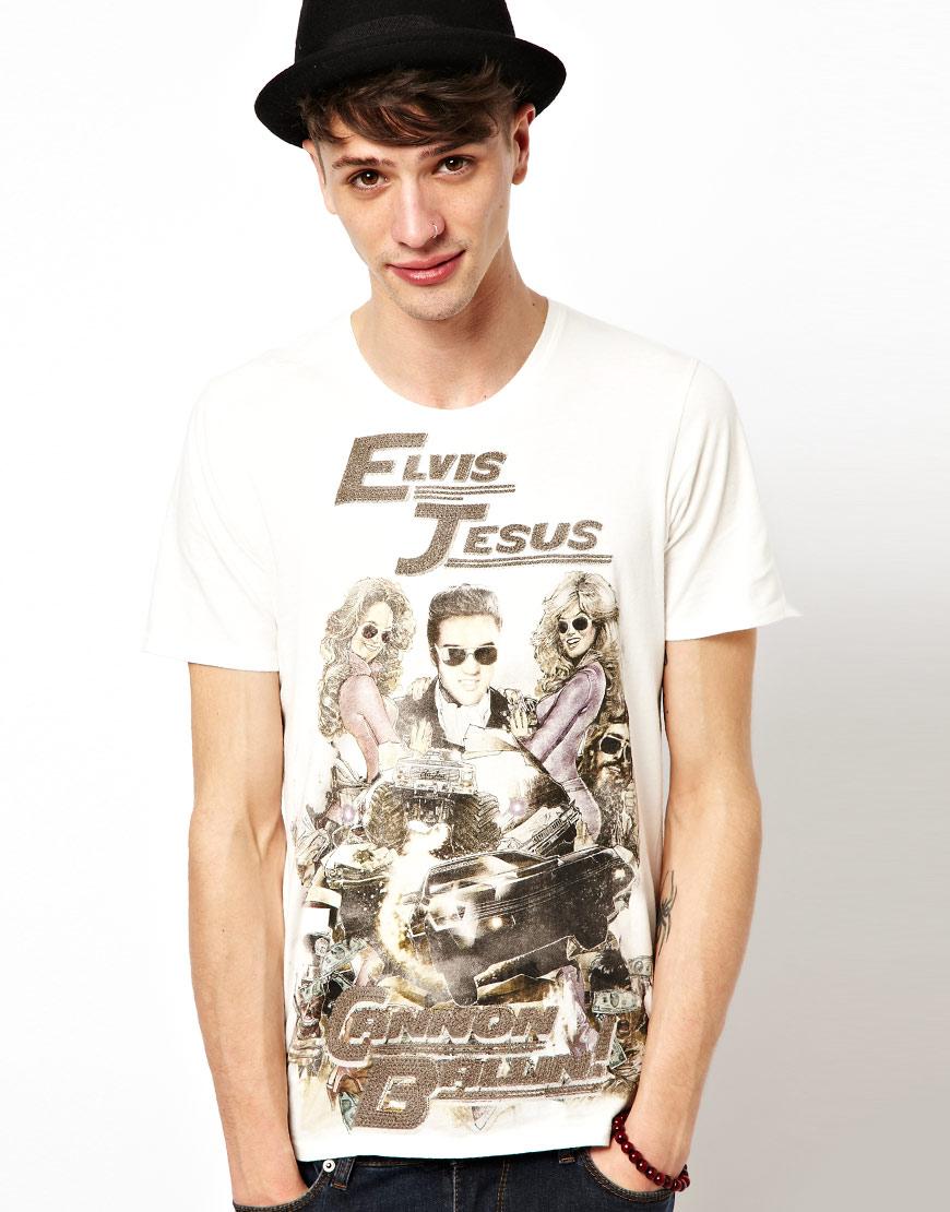 Elvis jesus crew print t shirt in white for men lyst for Elvis jesus t shirt