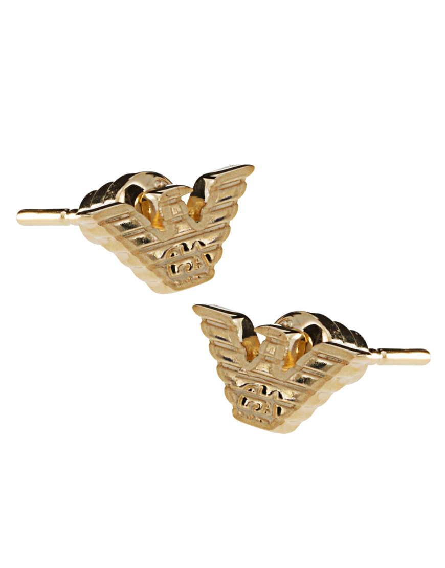 Lyst - Emporio Armani Gold Plated Eagle Stud Earrings in ...