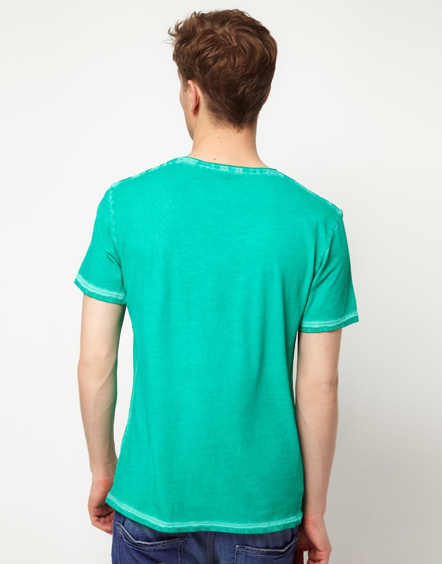 esprit v neck t shirt in green for men lyst. Black Bedroom Furniture Sets. Home Design Ideas