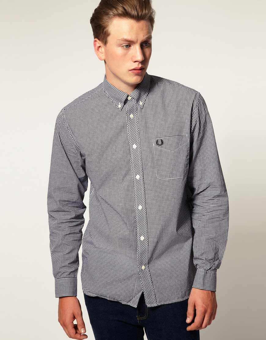 b1e7296d9 ASOS Fred Perry Long Sleeve Gingham Check Shirt in Black for Men - Lyst