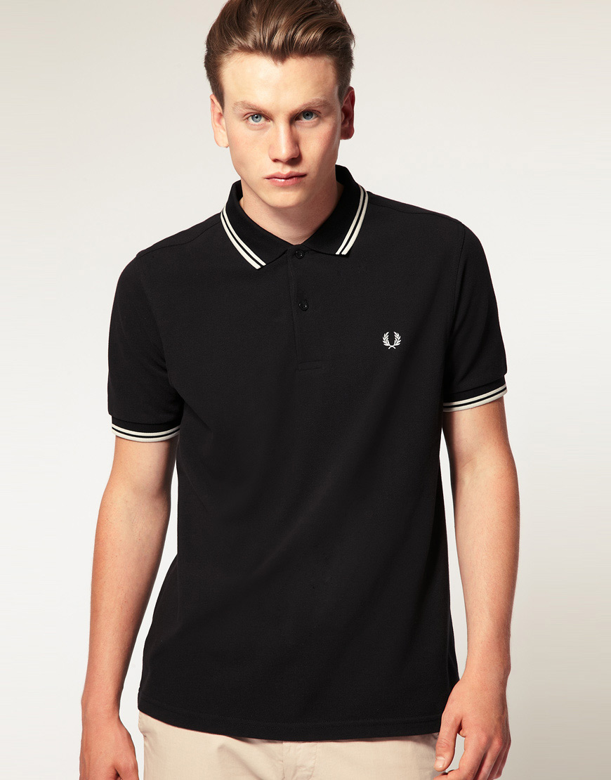 lyst fred perry slim fit polo with twin tipped in black in black for men. Black Bedroom Furniture Sets. Home Design Ideas