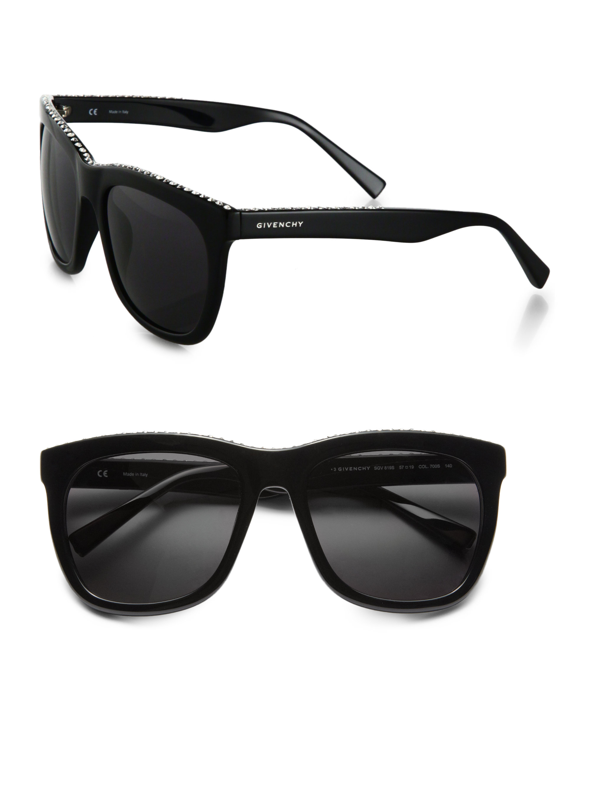 Givenchy Sunglasses Womens  givenchy swarovski crystal studded square sunglasses in black lyst
