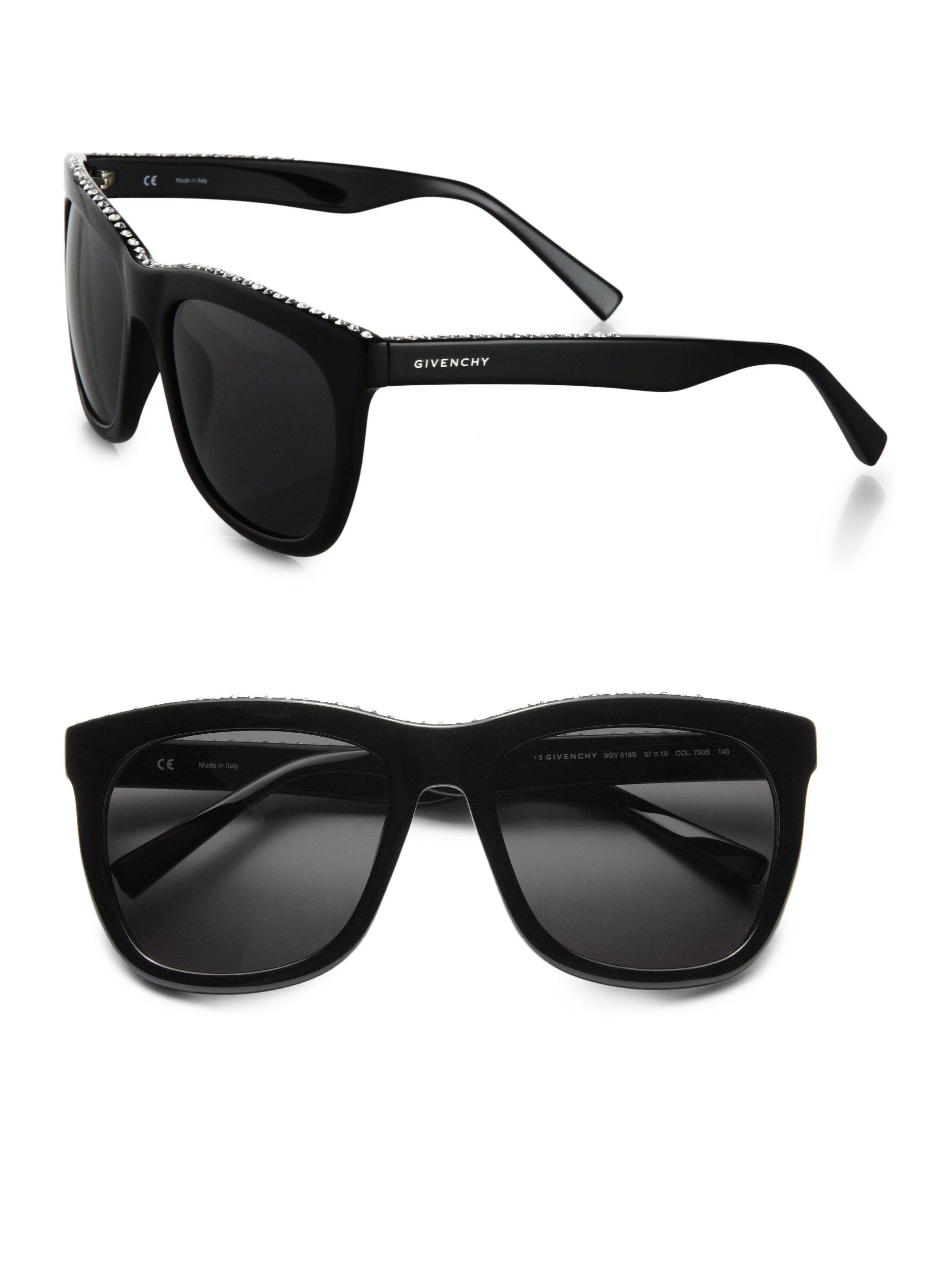 9000a98a5e Givenchy Swarovski Crystal Studded Square Sunglasses in Black