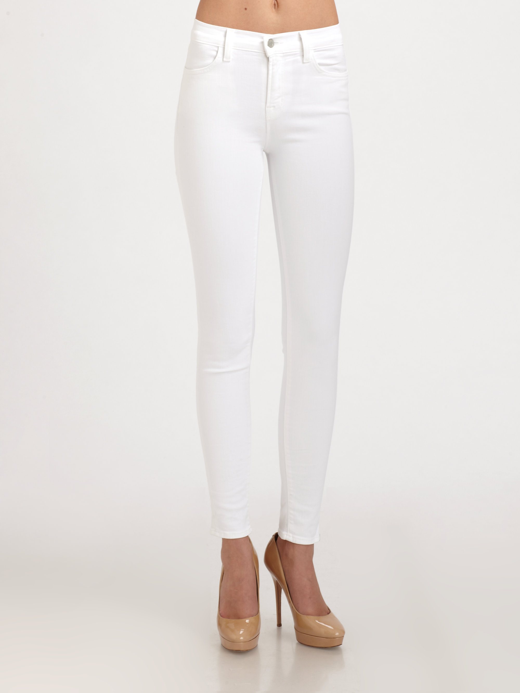 j brand maria high rise skinny jeans in white lyst. Black Bedroom Furniture Sets. Home Design Ideas