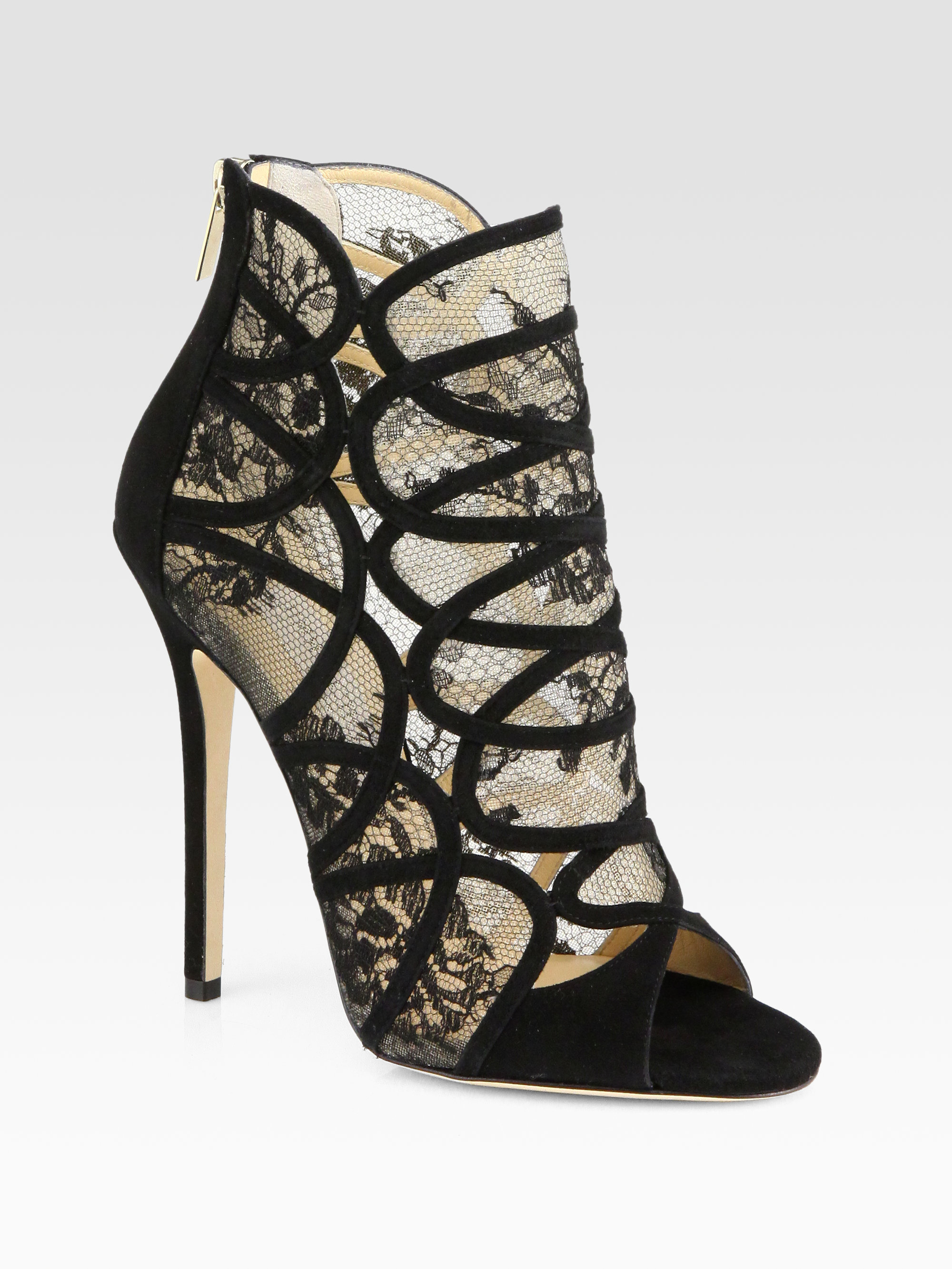 d2e33e27ac2c Lyst - Jimmy Choo Flaunt Lace Suede Ankle Boots in Black