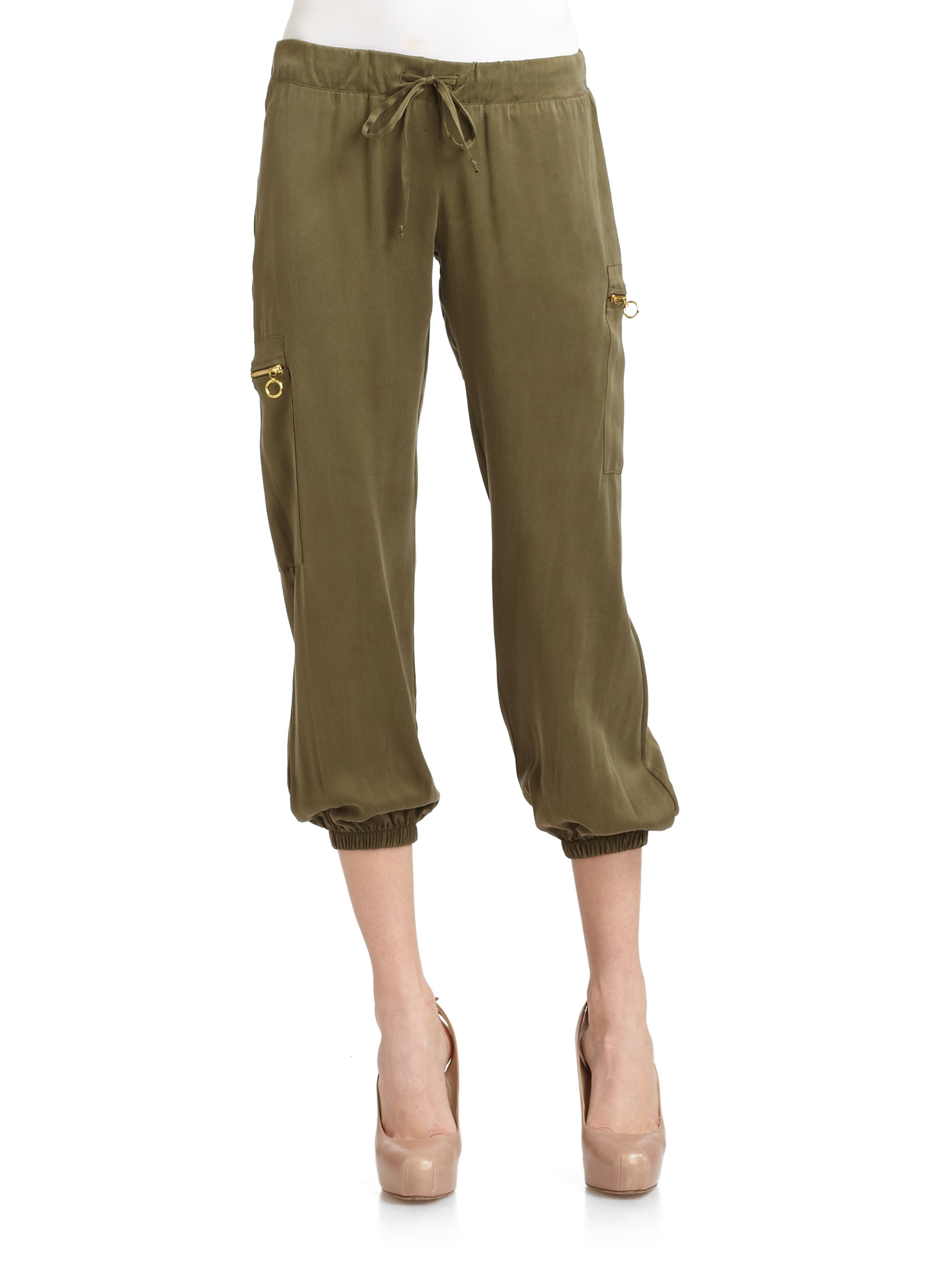 Maggie ward Sueded Silk Cargo Pants in Green