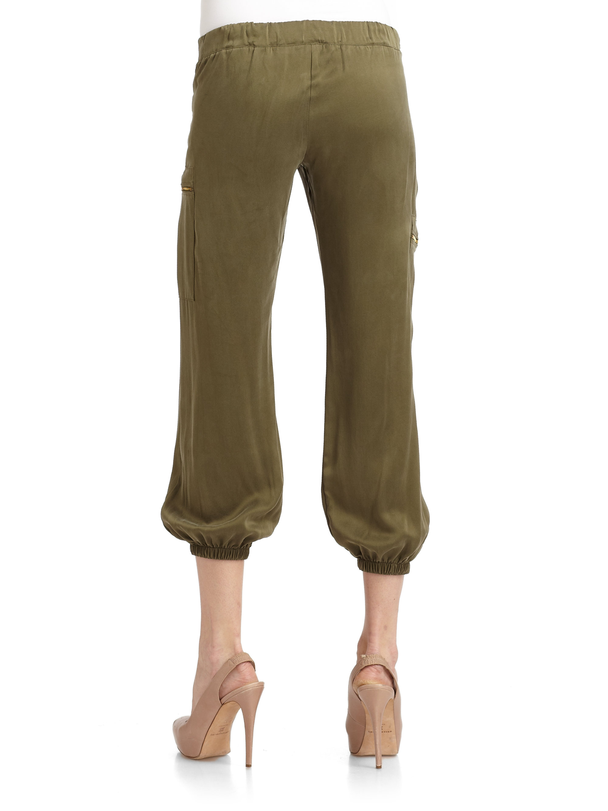 Maggie ward Sueded Silk Cargo Pants in Green | Lyst