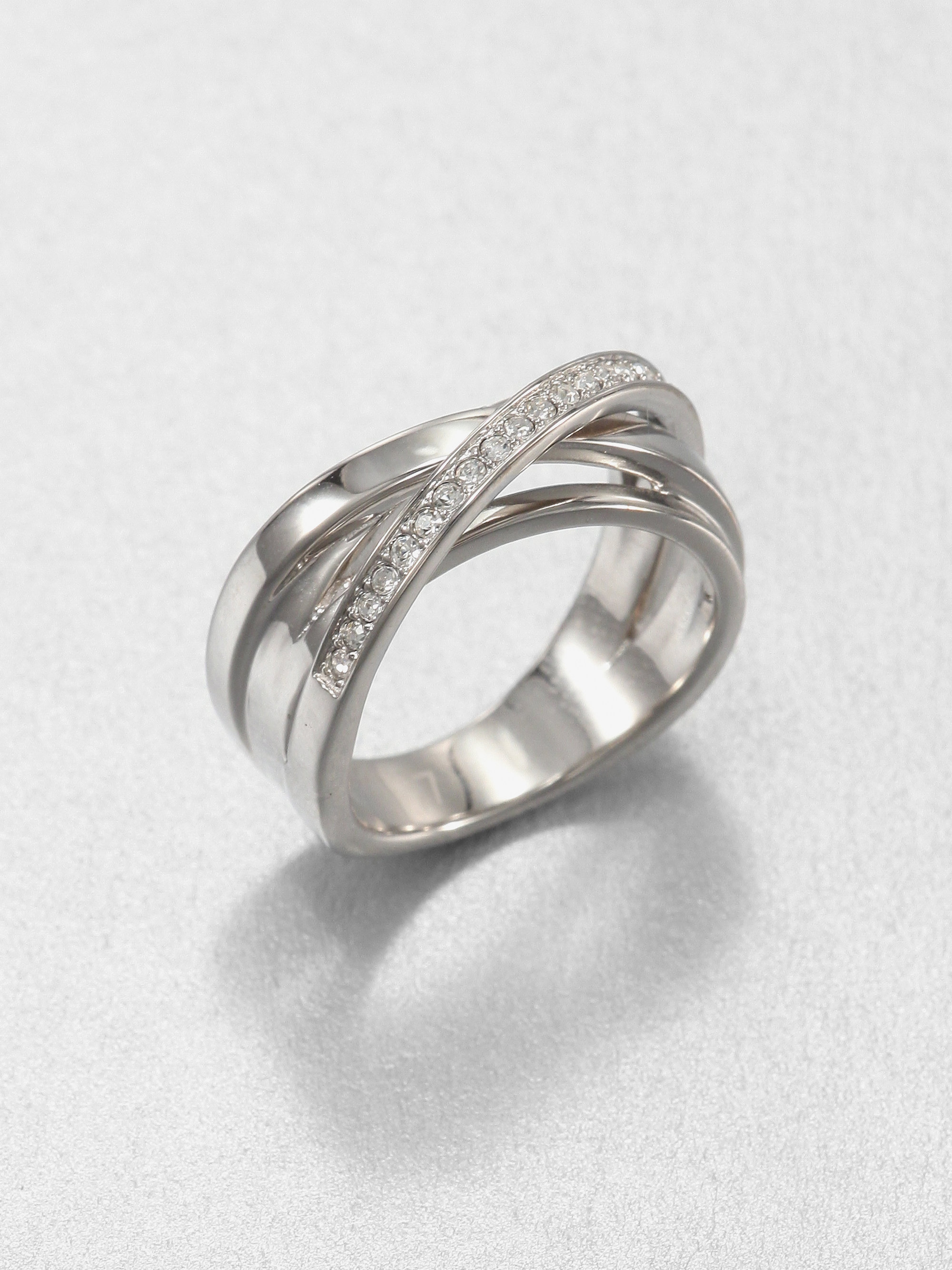 michael kors paveacute twisted ring in silver lyst