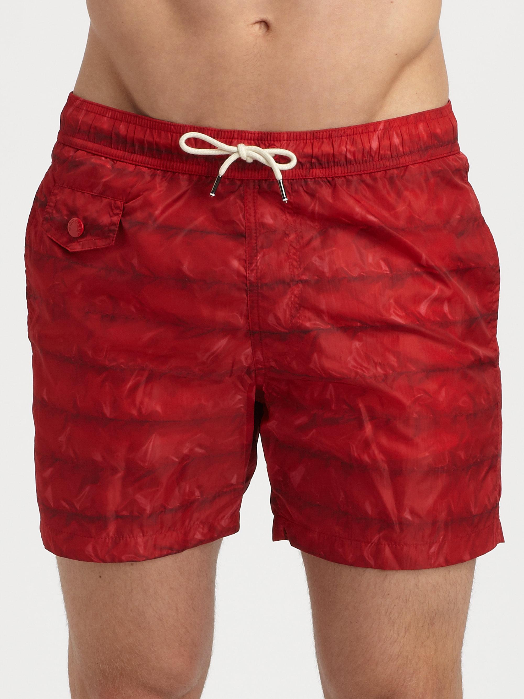 be4a66d8bc Moncler Nylon Swim Trunks in Red for Men - Lyst
