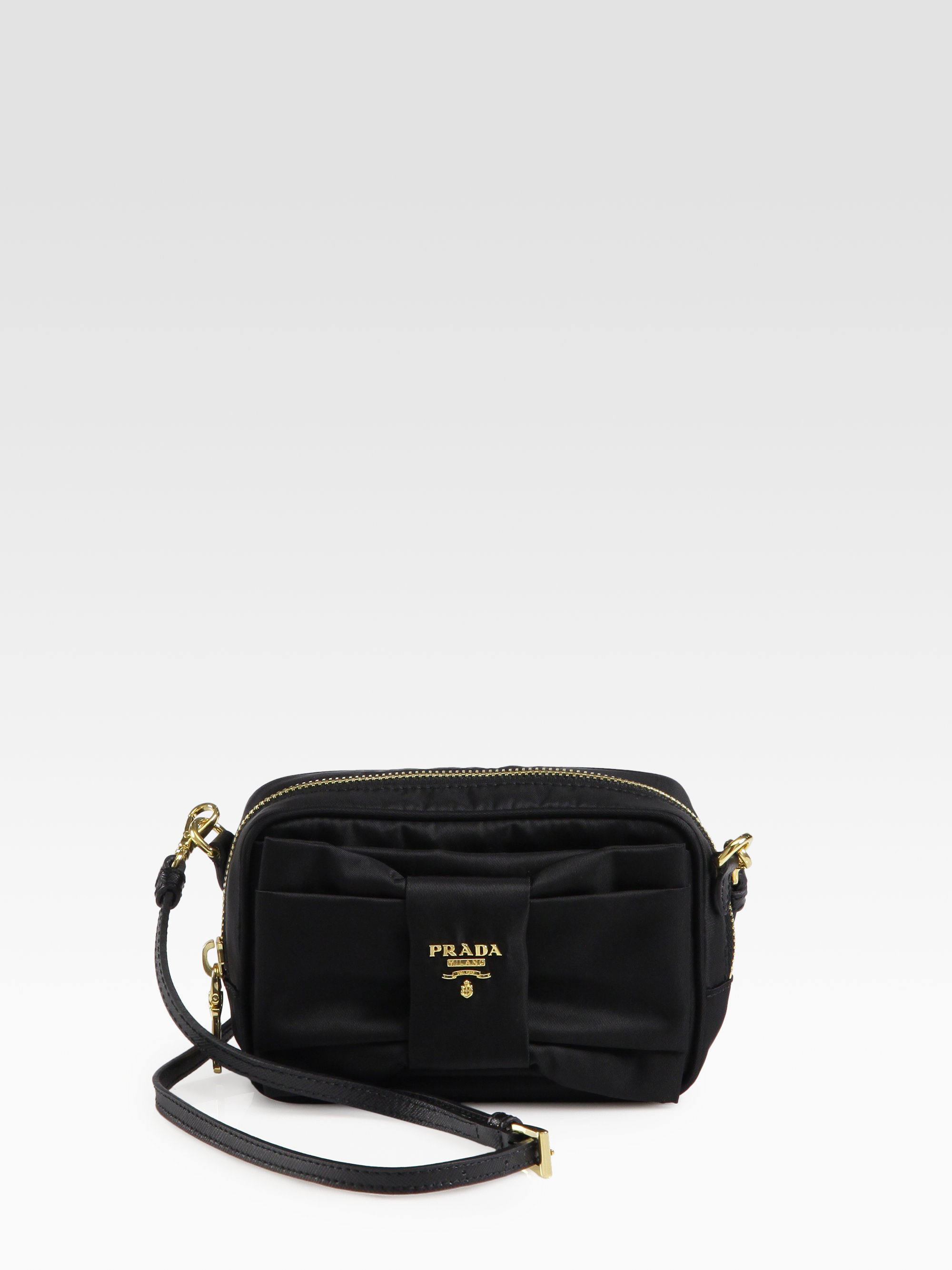 c57a3e257a62 Prada Tessuto Bow-Detail Cross-Body Bag in Black - Lyst