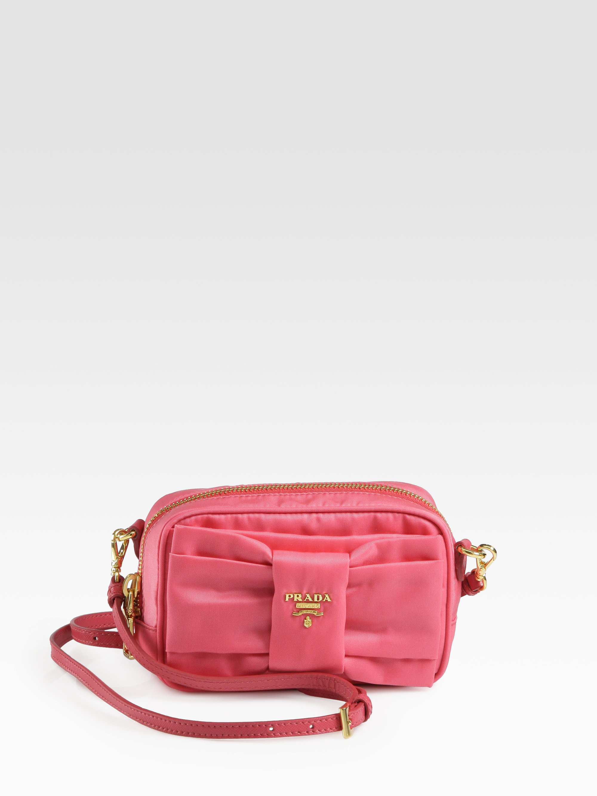 authentic prada handbags for less - Prada Tessuto Nylon Bow Crossbody Bag in Pink (peonia-pink) | Lyst
