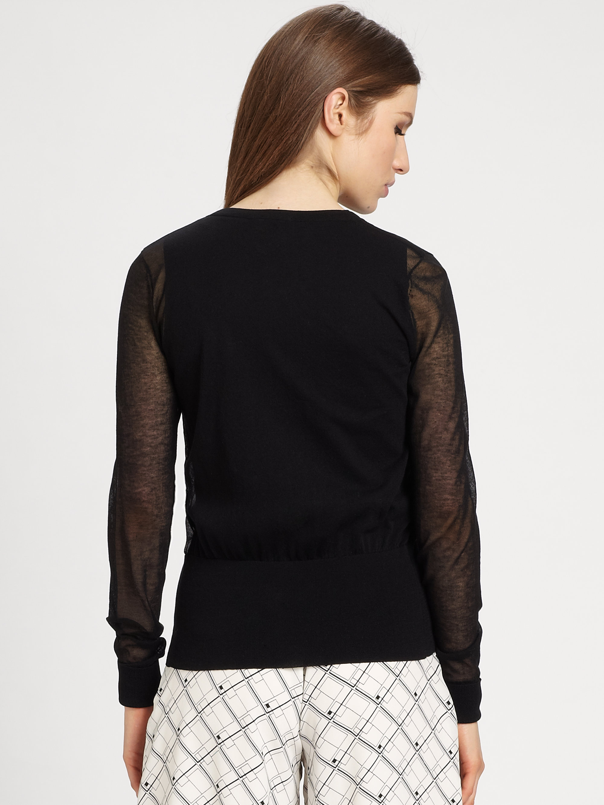 Raoul Sheer Cardigan in Black | Lyst