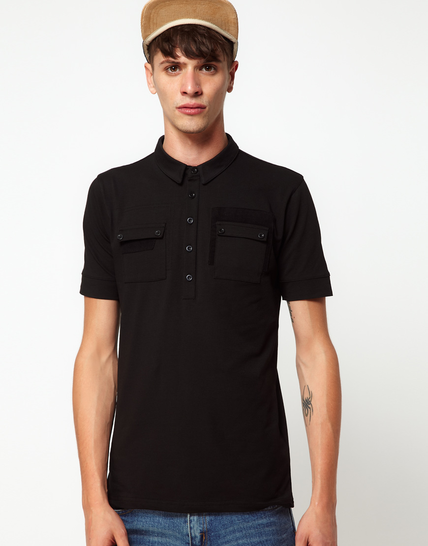 Lyst rough justice polo shirt with chest pockets in for Men s polo shirts with chest pocket