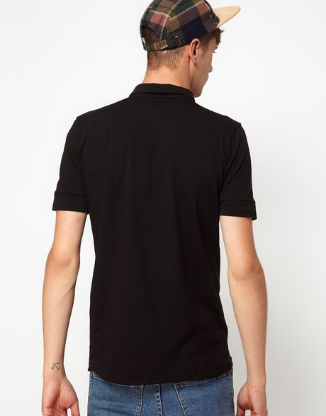 Rough justice polo shirt with chest pockets in black for for Men s polo shirts with chest pocket