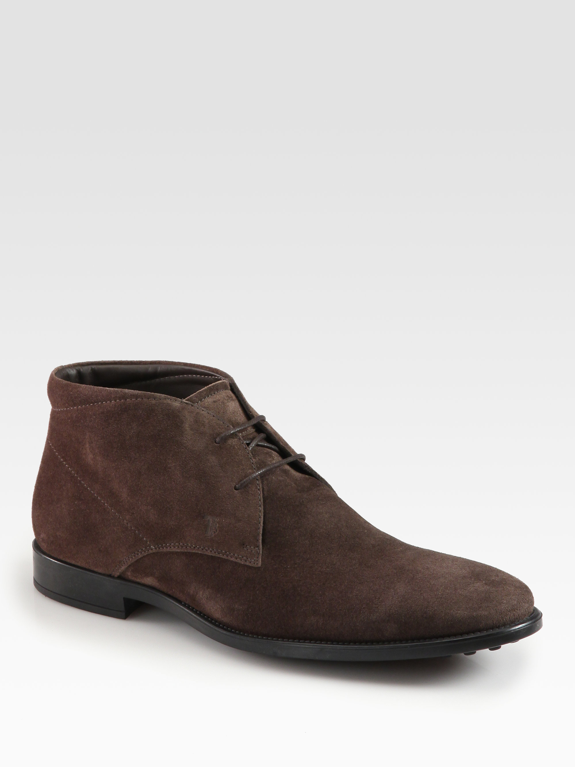 Tod S Suede Lace Up Ankle Boots In Brown For Men