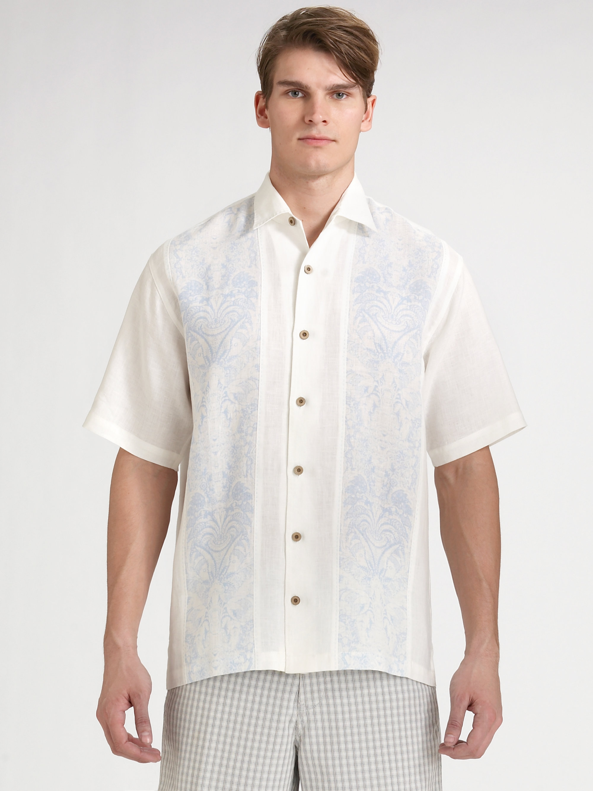 Tommy Bahama Martinique Line Shirt In White For Men Lyst