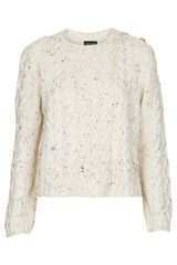 Topshop Knitted Nep Cable Jumper - Lyst