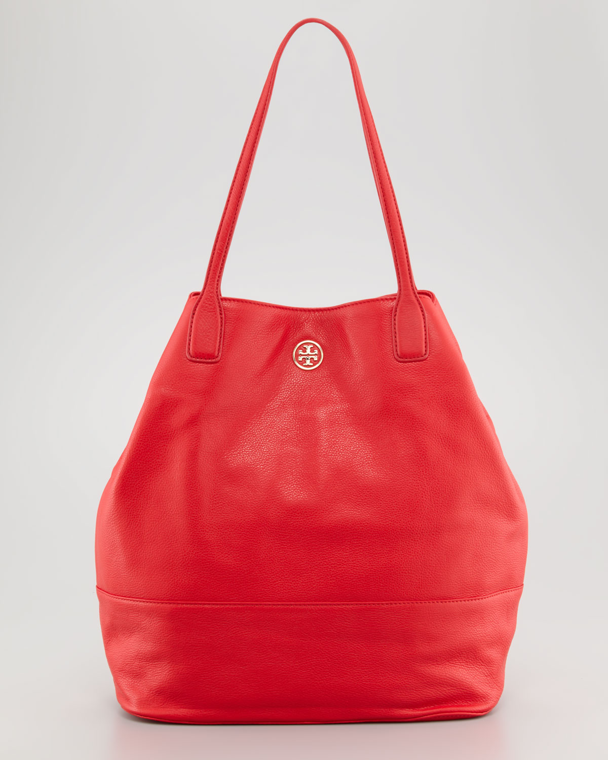 Lyst - Tory Burch Michelle Pebbled Leather Tote Bag in Red 7b20d8c1e06ea