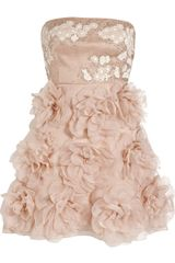 Valentino Embellished Strapless Silk Dress - Lyst