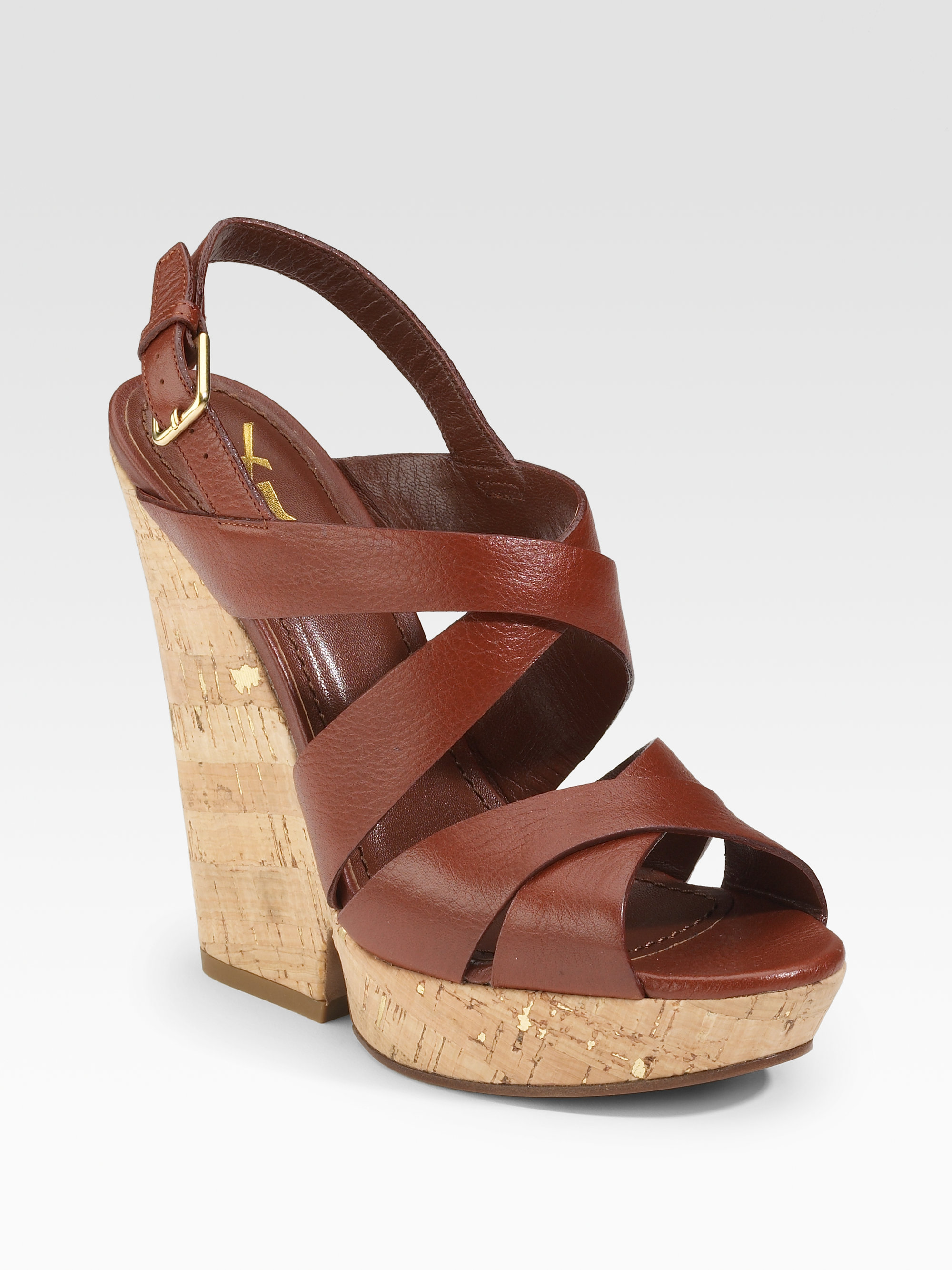 a067e13c1 Saint Laurent Deauville Strappy Wedge Sandals in Brown - Lyst