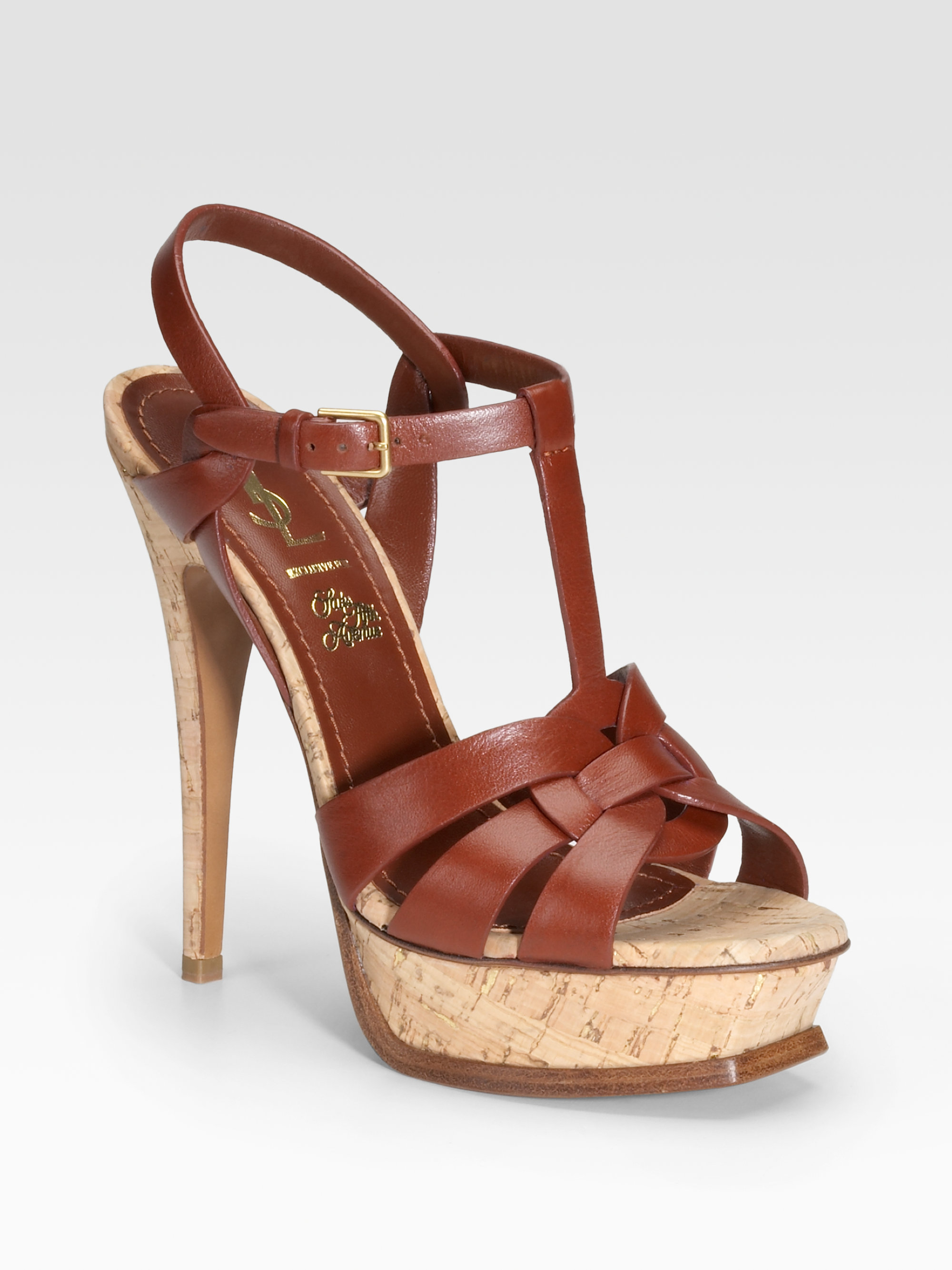 48c11bd3ce2 Lyst - Saint Laurent Tribute Cork Platform Sandals in Brown