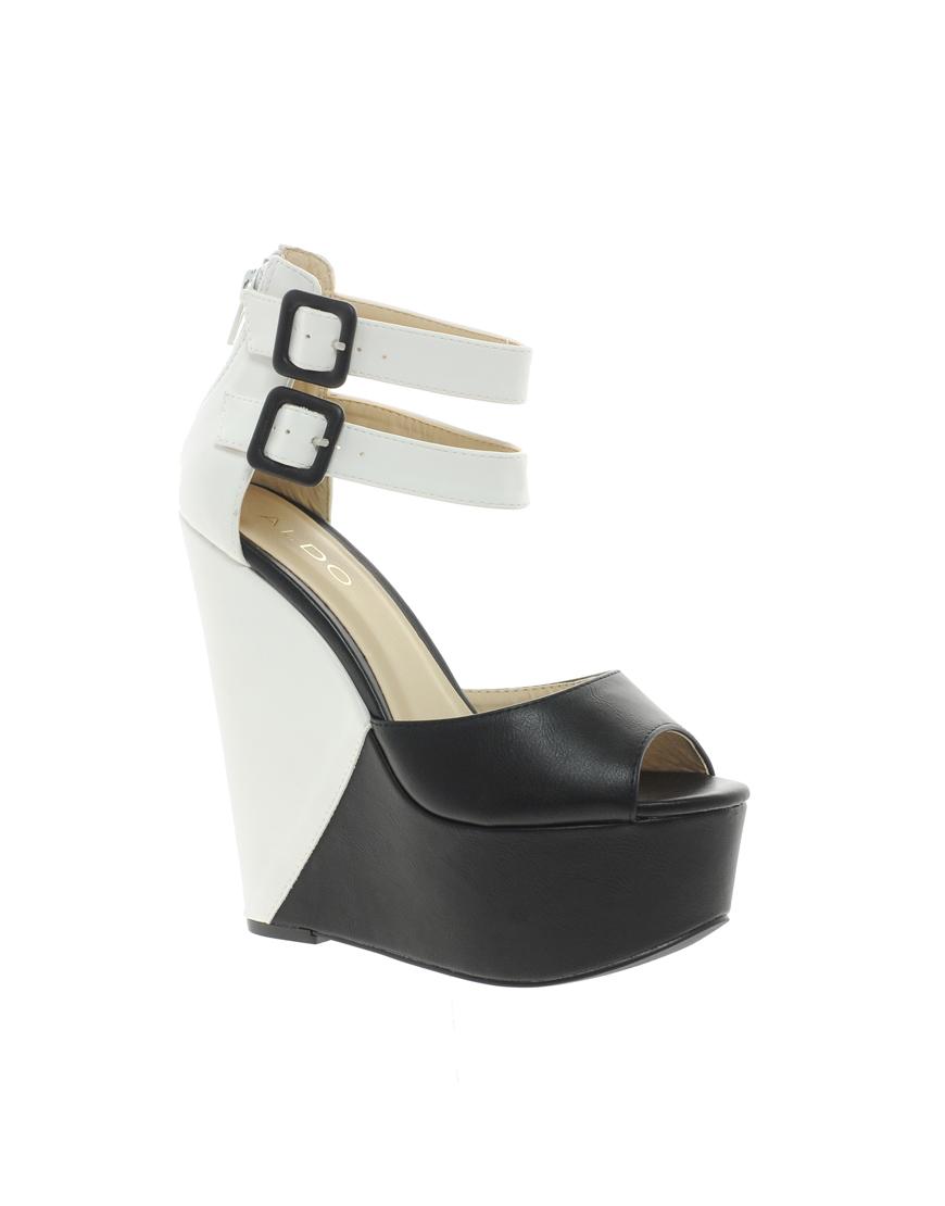 aldo colour block platform wedge sandals in black