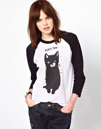 Asos Black Score By Simeon Farrar Exclusive To Black Paw Cat T-shirt - Lyst