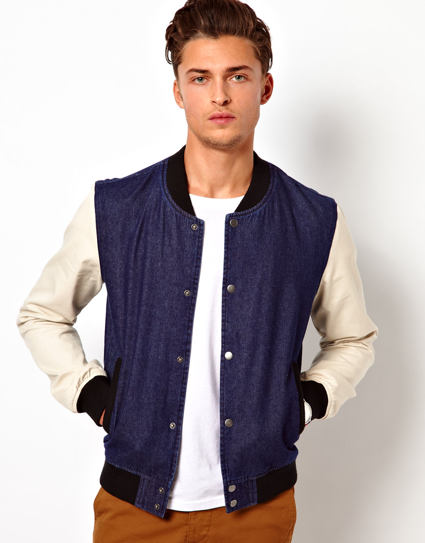 Asos Denim Bomber Jacket in Blue for Men | Lyst
