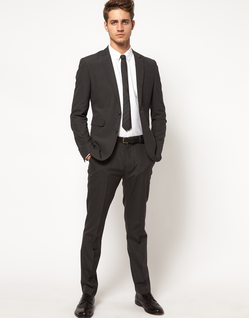 Buttero Asos Slim Fit Suit Pants in Charcoal in Gray for Men | Lyst