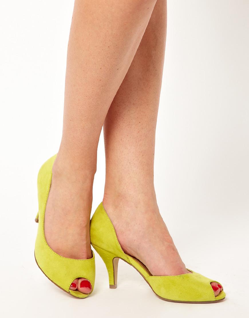 Peep Toe Yellow Heels