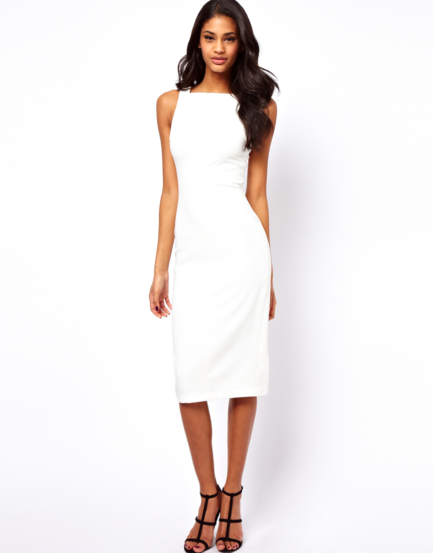 Asos Pencil Dress with Bow Back Detail in White - Lyst