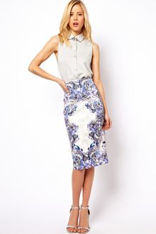 Asos Pencil Skirt in Tattoo Print - Lyst
