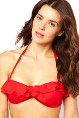 Asos Mix and Match Frill Bandeau Bikini Top with Tie Back - Lyst