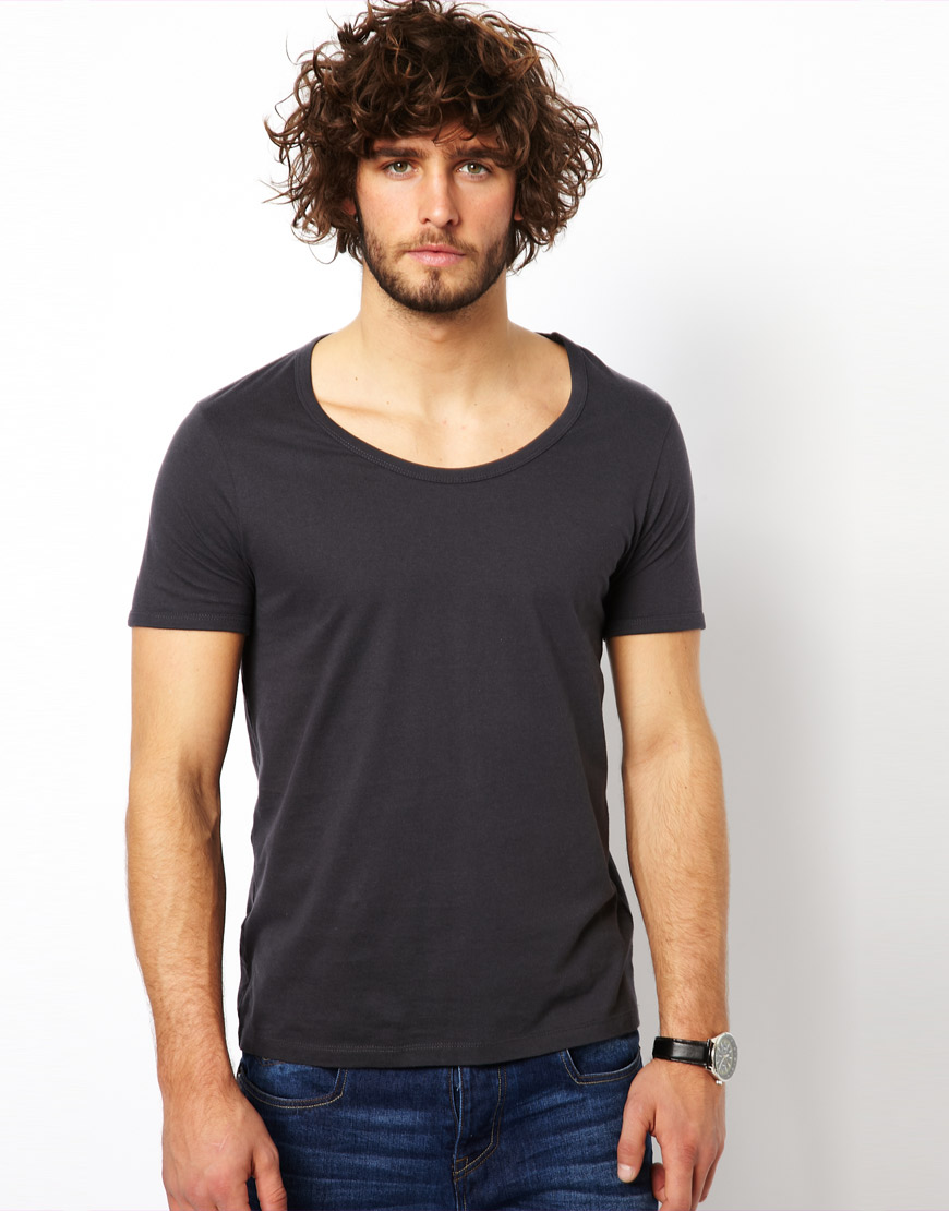 asos tshirt with bound scoop neck in black for men lyst