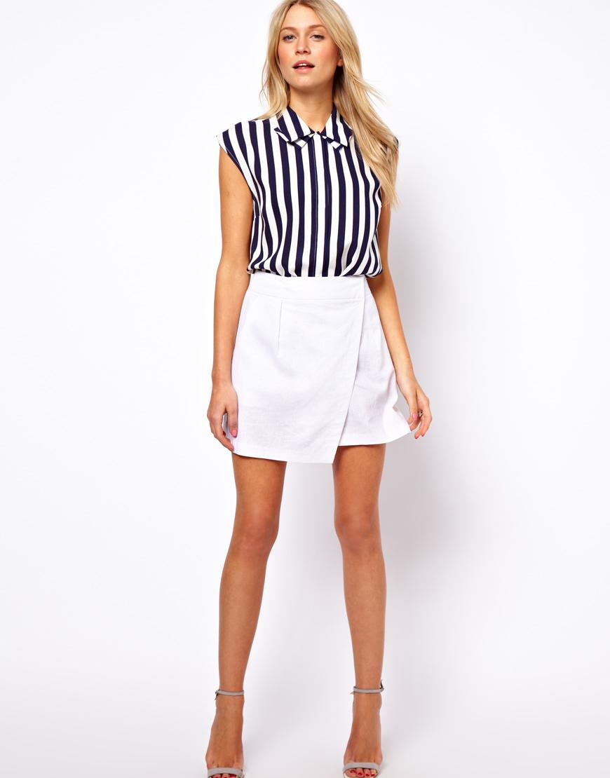 ef0edbc6ea ASOS Linen Mini Skirt with Wrap Detail in White - Lyst