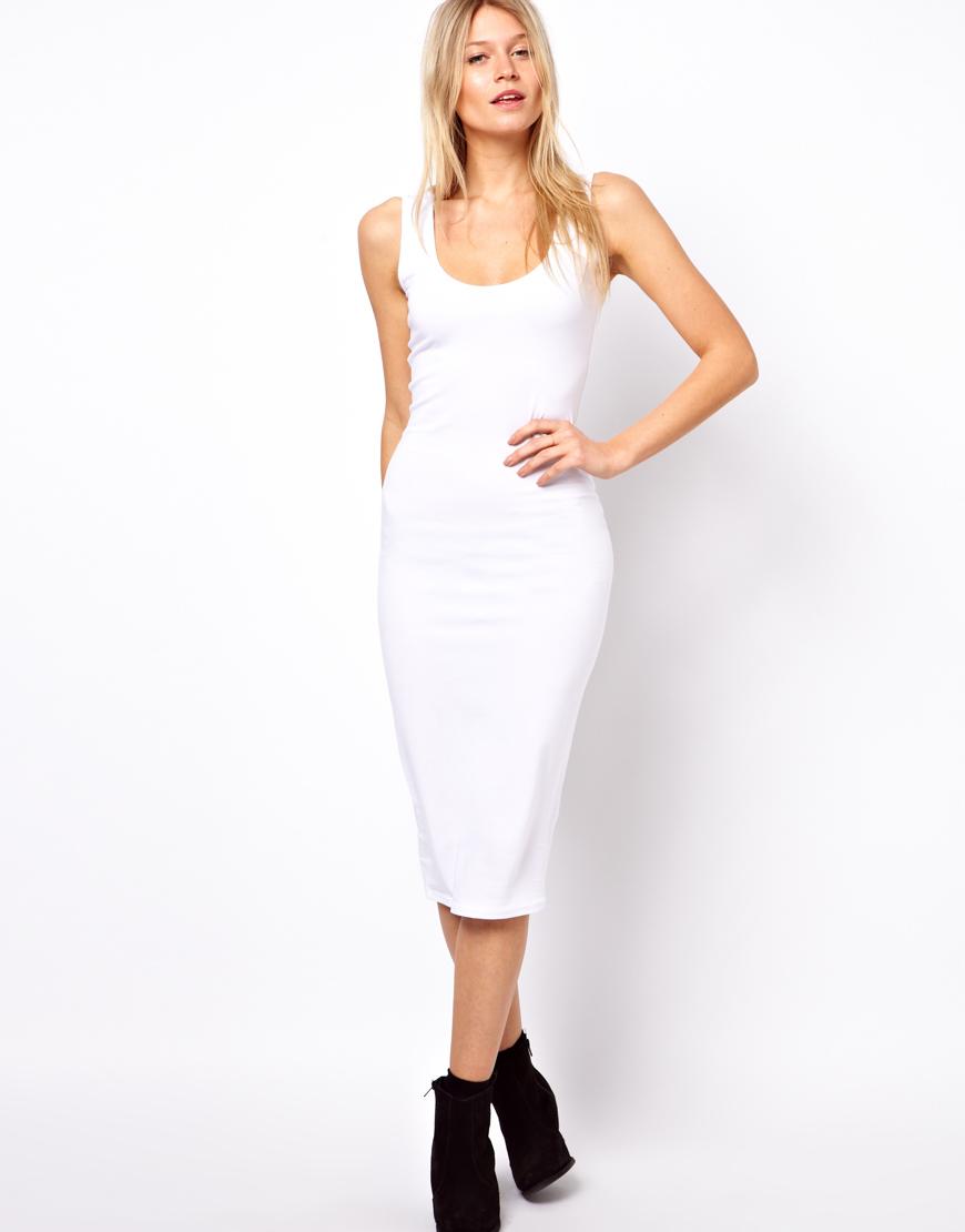 Lyst - ASOS Midi Vest Bodycon Dress in White e0f3f103d