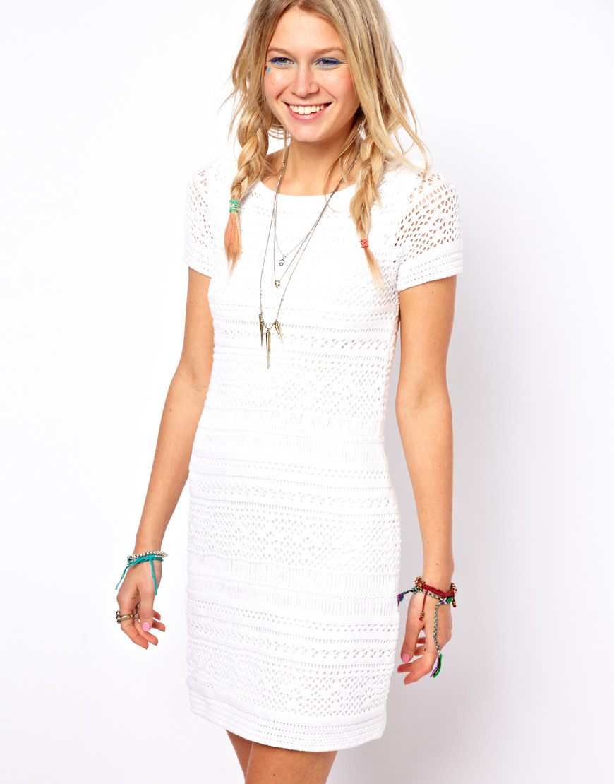 Asos Premium Crochet Shift Dress in White | Lyst